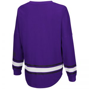 Northwestern University Wildcats Colosseum Ladies Purple All Around Oversized L/S Top with N-Cat Design