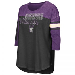 Northwestern University Wildcats Colosseum Ladies Black / Purple I'Ll Be There For You 3/4 Sleeve T-Shirt with N-Cat Design