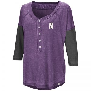 Northwestern University Wildcats Colosseum Ladies Purple / Black Major League Baseball Henley with Stylized N Design