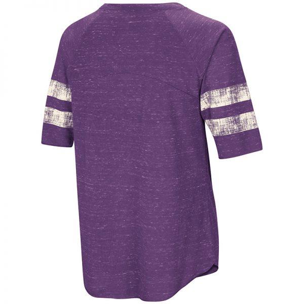 Northwestern University Wildcats Colosseum Ladies Purple Bean Babbitt Raglan T-Shirt with Stylized N Design-Back