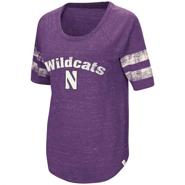Northwestern University Wildcats Colosseum Ladies Purple Bean Babbitt Raglan T-Shirt with Stylized N Design
