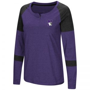 Northwestern University Wildcats Colosseum Ladies Black/Purple Dorothy L/S Raglan T-Shirt with N-Cat Design