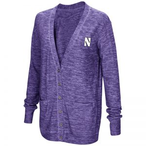 Northwestern University Wildcats Colosseum Ladies Purple Had Me At Hello Cardigan with N-Cat Design