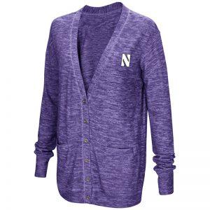 Northwestern University Wildcats Colosseum Ladies Purple Had Me At Hello Cardigan with N-Cat Design