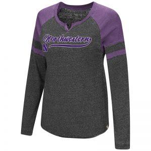 Northwestern University Wildcats Colosseum Ladies Heather Black/Purple Bubbilicious L/S T-Shirt
