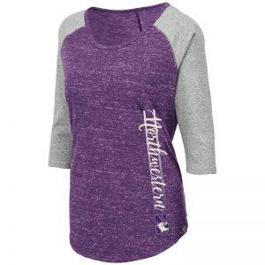 Northwestern University Wildcats Colosseum Ladies Purple/Heather Grey Pisa 3/4 Sleeve T-Shirt