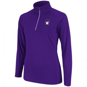 Northwestern University Wildcats Colosseum Ladies Purple Breeze 1/4 Zip L/S T-Shirt with N-Cat Design