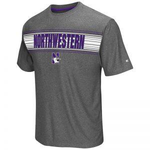 Northwestern University Wildcats Colosseum Men's Heather Charcoal Vandelay S/S T-Shirt with N-Cat Design