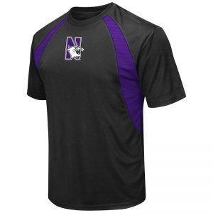 Northwestern University Wildcats Colosseum Men's Black / Purple In The Vault Cut & Sew S/S T-Shirt with N-Cat Design