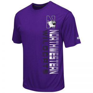 Northwestern University Wildcats Colosseum Men's Heather Purple Chunnel S/S T-Shirt with N-Cat Design