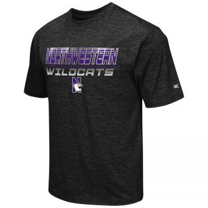Northwestern University Wildcats Colosseum Men's Black Double Dip S/S T-Shirt with N-Cat Design