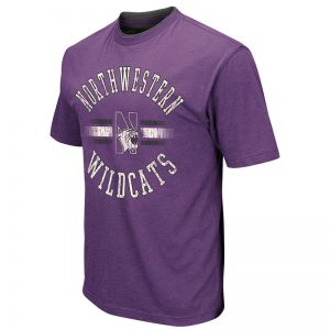 Northwestern University Wildcats Colosseum Men's Purple High Five S/S T-Shirt with N-Cat Design