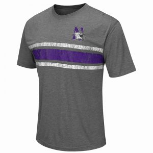 Northwestern University Wildcats Colosseum Men's Heather Charcoal Swipurpleh S/S T-Shirt with N-Cat Design