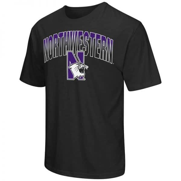 Northwestern University Wildcats Colosseum Men's Black Golden Boy S/S T-Shirt with N-Cat Design