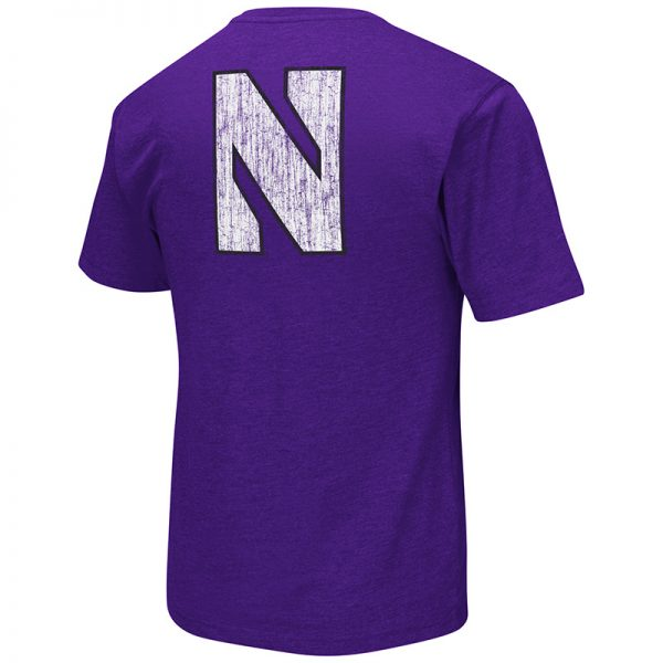 Northwestern University Wildcats Colosseum Mens Purple Banya S/S Pocket T-Shirt with N-Cat Design-Back