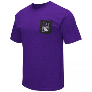 Northwestern University Wildcats Colosseum Mens Purple Banya S/S Pocket T-Shirt with N-Cat Design