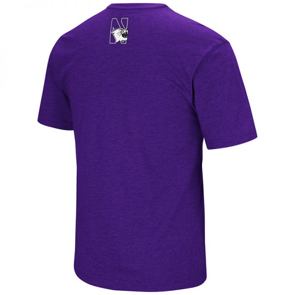 Northwestern University Wildcats Colosseum Men's Purple Fun Run S/S T-Shirt with Stylized N Design-Back