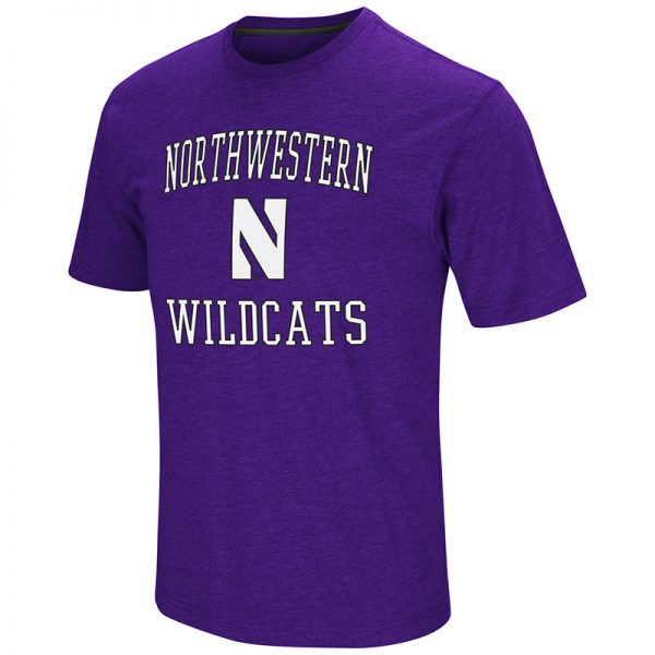 Northwestern University Wildcats Colosseum Men's Purple Fun Run S/S T-Shirt with Stylized N Design