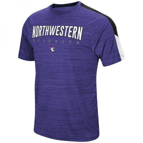 Northwestern University Wildcats Colosseum Men's Purple A Deuce S/S T-Shirt with N-Cat Design