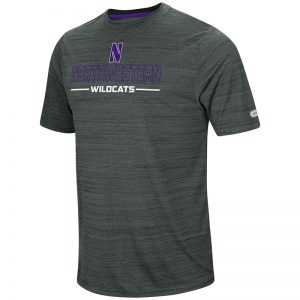 Northwestern University Wildcats Colosseum Men's Charcoal Heather The Line Up S/S T-Shirt with Stylized N Design