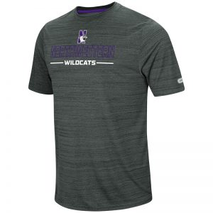 Northwestern University Wildcats Colosseum Men's Charcoal Heather The Line Up S/S T-Shirt with N-Cat Design