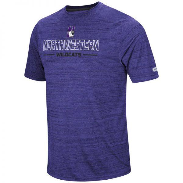 Northwestern University Wildcats Colosseum Men's Purple The Line Up S/S T-Shirt with N-Cat Design