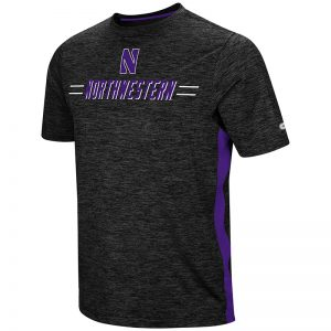Northwestern University Wildcats Colosseum Men's Black / Purple Designated Hitter S/S T-Shirt with Stylized N Design