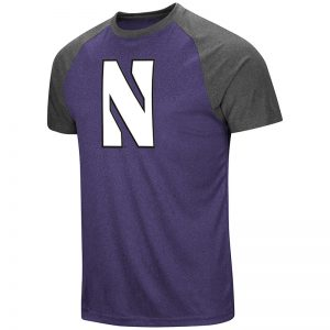 Northwestern University Wildcats Colosseum Men's Heather Purple/ Charcoal The Heat S/S Raglan with Full Chest Stylized N Design