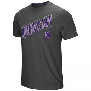 Northwestern University Wildcats Colosseum Men's Charcoal The Show S/S T-Shirt with Stylized N Design