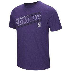 Northwestern University Wildcats Colosseum Men's Purple Fly Ball S/S T-Shirt with Stylized N Design