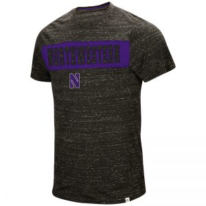 Northwestern University Wildcats Colosseum Men's Black / Purple Meat S/S T-Shirt with Stylized N Design