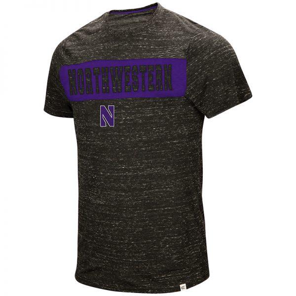Northwestern University Wildcats Colosseum Men's Black / Purple Meat S/S T-Shirt with Stylized N Design
