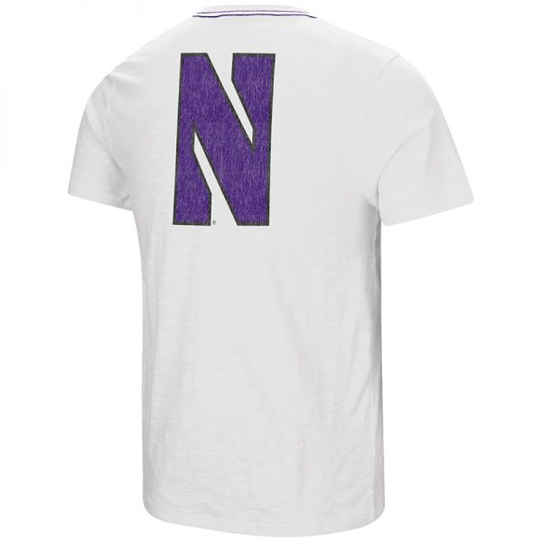 Northwestern University Wildcats Colosseum Men's White Million Dollar Arm S/S T-Shirt with Stylized N Design-Back