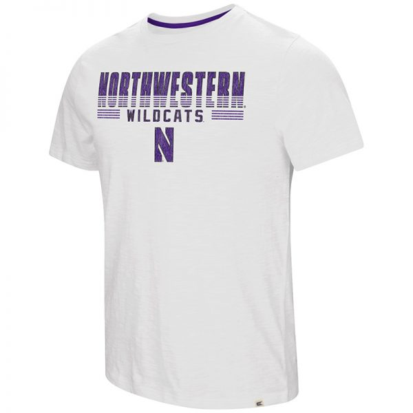 Northwestern University Wildcats Colosseum Men's White Million Dollar Arm S/S T-Shirt with Stylized N Design