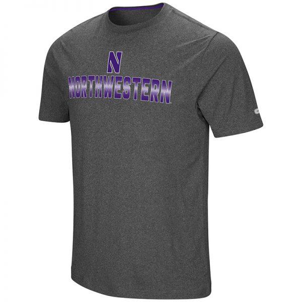 Northwestern University Wildcats Colosseum Men's Heather Charcoal Men's Medula Oblongata S/S T-Shirt with Stylized N Design