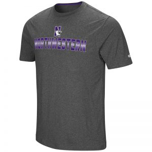 Northwestern University Wildcats Colosseum Men's Heather Charcoal Men's Medula Oblongata S/S T-Shirt with N-Cat Design