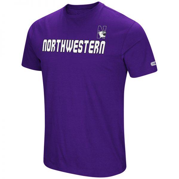 Northwestern University Wildcats Colosseum Men's Purple Men's Water Boy S/S T-Shirt with N-Cat Design