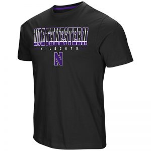 Northwestern University Wildcats Colosseum Men's Black Tackle S/S T-Shirt with Stylized N Design