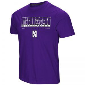 Northwestern University Wildcats Colosseum Men's Purple Tackle S/S T-Shirt with Stylized N Design