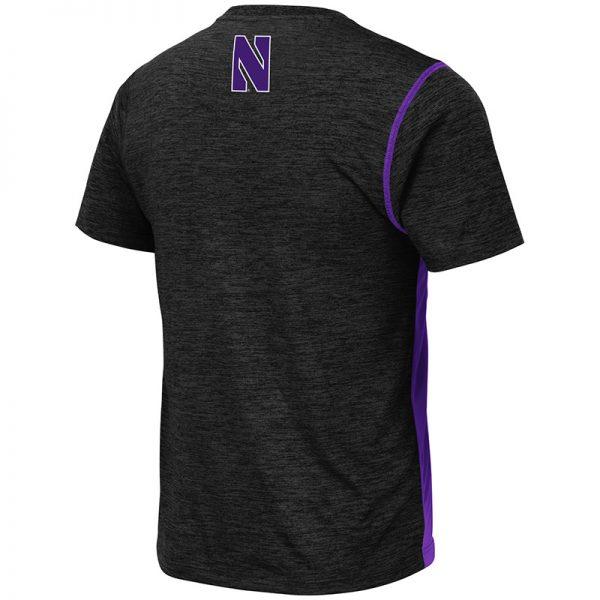 Northwestern University Wildcats Colosseum Men's Black/Purple Pop Color Tonga S/S T-Shirt with N-Cat Design-Back