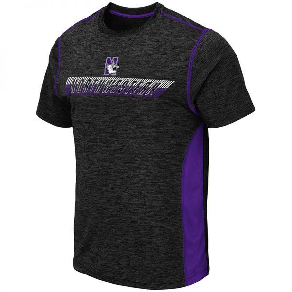 Northwestern University Wildcats Colosseum Men's Black/Purple Pop Color Tonga S/S T-Shirt with N-Cat Design
