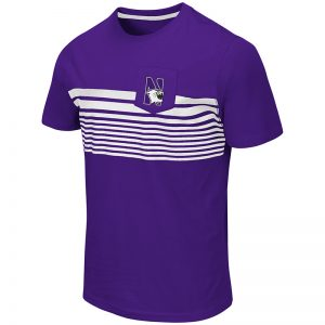Northwestern University Wildcats Colosseum Men's Purple Futuna S/S Pocket T-Shirt with N-Cat Design