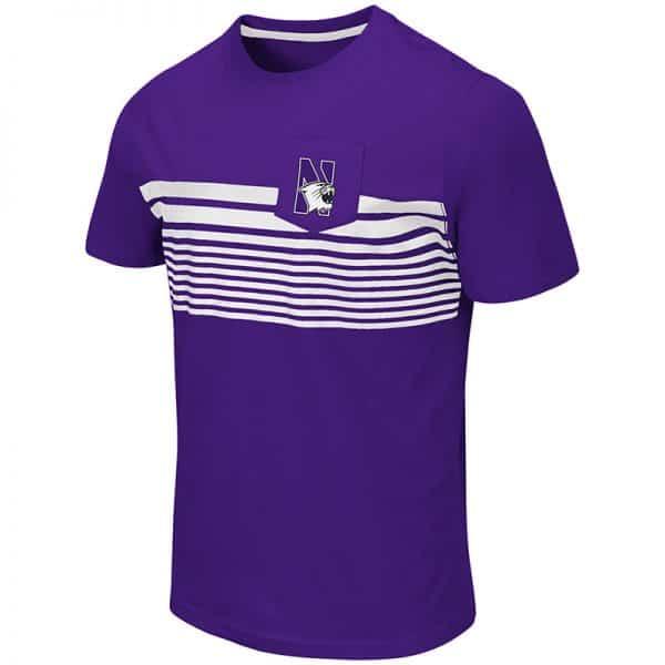 Northwestern University Wildcats Colosseum Men's Purple Futuna S/S Pocket T-Shirt with N-Cat Design