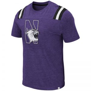 Northwestern University Wildcats Colosseum Men's Purple/Black/White Santa Cruz S/S T-Shirt with N-Cat Design