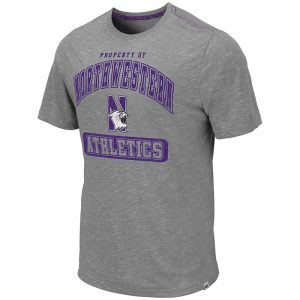Northwestern University Wildcats Colosseum Men's Grey Campinas S/S T-Shirt with N-Cat Design