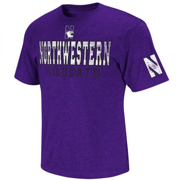 Northwestern University Wildcats Colosseum Men's Purple Sprint S/S T-Shirt with N-Cat Design
