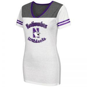 Northwestern University Wildcats Colosseum Ladies White Pipeline S/S V-Neck T-Shirt with N-Cat Design