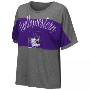 Northwestern University Wildcats Colosseum Ladies Heather Charcoal / Purple The Rachel S/S T-Shirt with N-Cat Design