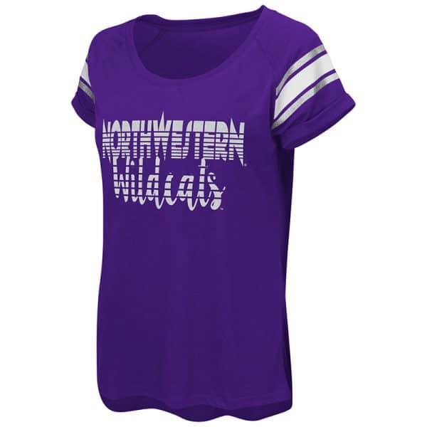 Northwestern University Wildcats Colosseum Ladies Purple Karate Cuffed Raglan S/S T-Shirt
