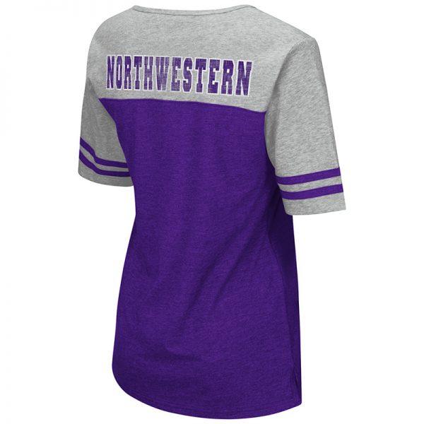 Northwestern University Wildcats Colosseum Ladies Purple / Heather Grey On A Break V-Neck T-Shirt with N-Cat Design-Back